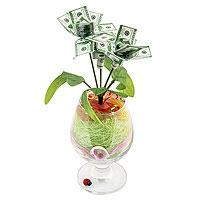 Денежное дерево бокал 100 долларов