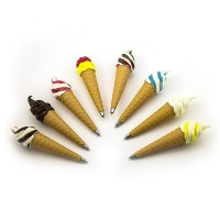 Ручка Мороженое шариковая с магнитом МИКС