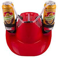 Каска с подставками под банки Пивная шляпа Красн.
