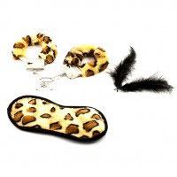 Набор Наручники повязка на глаза перо леопард