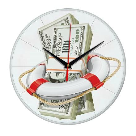 Часы настенные Спасательный доллар стеклянные Эврика