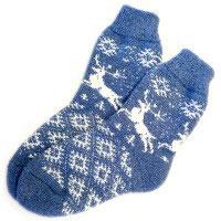 Носки шерстяные Синие с оленями Эврика