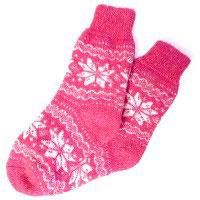 Носки шерстяные Розовые со снежинками Эврика