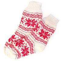 Носки шерстяные Белые со снежинками Эврика